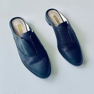 Louie Et Cie Black pebbled leather slip on mule